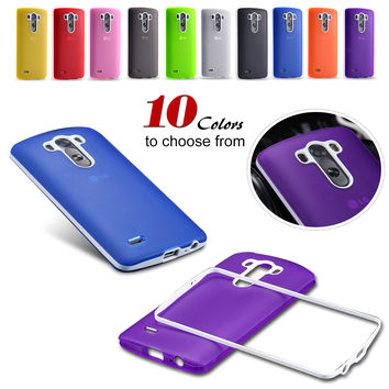Candy Colors! Slim thin Frosted Silicon Soft TPU Cover For LG Optimus D850 Phone Accessories Double Color Back Case for LG G3