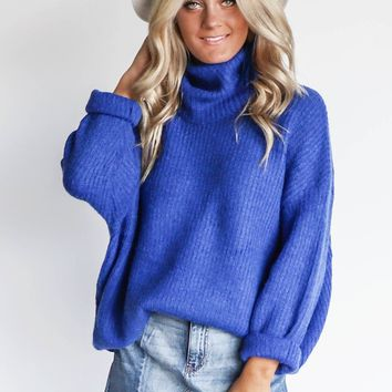 Think Alike Royal Blue Chunky Turtleneck Sweater