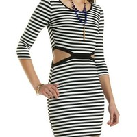 Cut-Out Striped Bodycon Dress by Charlotte Russe