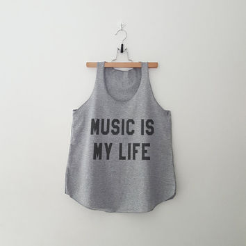 Music is my life women top clothing for teen girl women summer fall spring outfit ideas hipster tumblr parties fashion printed tshirt