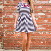 Stripe For The Pickin' Dress, Black