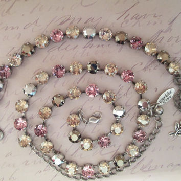 Swarovski crystal necklace, PINK NEUTRALS. shades of pink shades, taupe, silver gold. stunning, classy, 8mm, bridal, designer inspired
