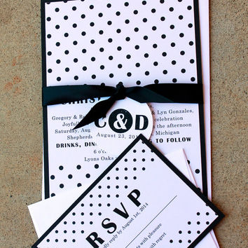 Black and White Polka Dot Wedding Invitation, Modern Black Wedding, Pin up, Retro invitations, Black and White Wedding, Wedding Invitations