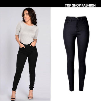 Women's Fashion High Waist Stretch Denim With Pocket Strong Character Plus Size Skinny Pants [6365915780]