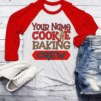 Men's Personalized Christmas T Shirt Cookie Baking Crew Matching Xmas Outfit Custom Graphic Tee 3/4 Sleeve Raglan