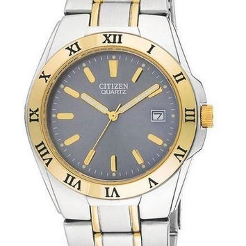 CITIZEN BK3554-56H TWO TONE GOLD PLATED STAINLESS GRAY DIAL QUARTZ MENS WATCH