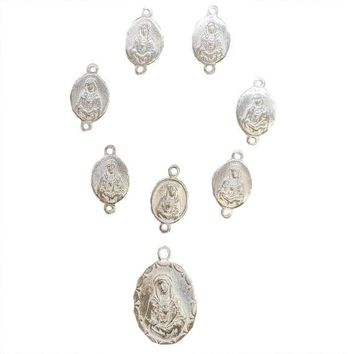 Sterling Silver 7 Sorrows of Mary Medal set