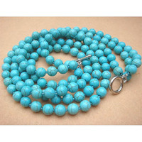 Turquoise Round Bead 3strand Necklace by turquoisecity on Etsy