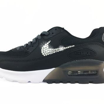 CLEARANCE - Nike Air Max 90 Ultra Essential + Hand Customized Swarovski Crystal Swoosh - Black/White/Grey