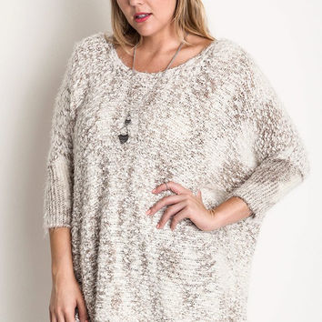 Plus Size Chunky Knit Sweater With Frayed Trim - Mocha