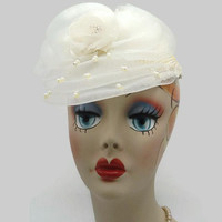 1940's Cream And Ivory Pearl Bead Floral Netted Juliet Cap Wedding Hat
