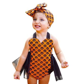 Baby Girl Clothes Cute Toddler Kids Baby Sleeveless Pumpkin Print Girls Halloween Outfits Clothes Romper Jumpsuit Kids Clothes