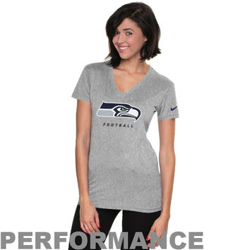 Nike Seattle Seahawks Ladies Legend Logo V-Neck Performance T-Shirt - Ash
