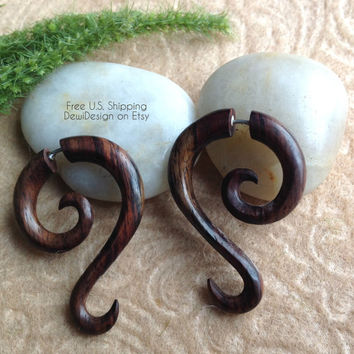 """Fake Gauge Earrings, """"Long Spirals"""" Natural, Sono Wood, Handcrafted, Tribal"""