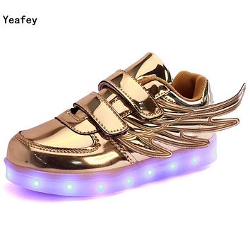 Yeafey Golden Wing Shoe with Luminous Krasovki Sneakers Running Light Up Children Girls Led Kids Shoes for Boys Flashing Sneaker