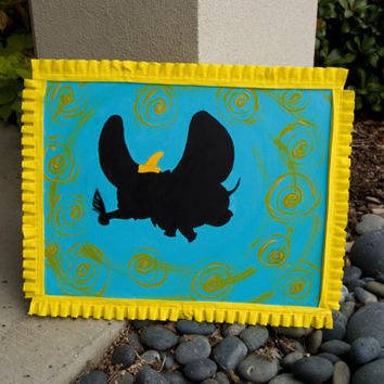 "FREE SHIPPING  ""Dumbo""  Acrylic Silhouette Painting of Dumbo with a Real Feather and Yellow Ruffle Trim Border"