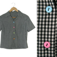 Vintage Gingham Shirt~Size Small/Medium/Large~50s 60s Black White Blue Pink Green Orange Button Up Crop Top