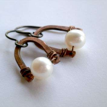 Freshwater Pearl Earrings. Pearls and Copper Jewelry. Antiqued Copper Earrings. Boho. OOAK Hypoallergenic Niobium. Artisan Jewelry Under 50