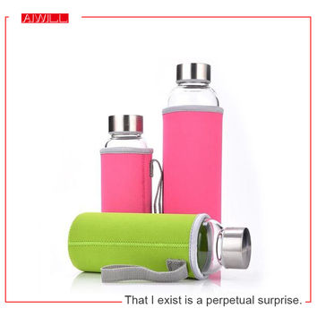 AIWILL Hot Selling Glass Sport Water Bottle With Protective Bag 280ml / 360ml / 550ml Fruit Outdoor Bike Bottles High Qualtiy