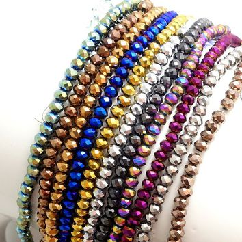 100pcs 6*4mm Rondelle faceted Loose Spacer Crystal Beads for DIY Charm Bracelet Pendant Necklace Earring Jewelry Making Finding