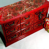 Vintage Boho Jewelry Box Bohemian Red Jewelry Box with Charms Paisley Accent Cottage Style