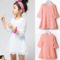 Cute Fashion Kids Girls Toddler Baby Lace Princess Party Dresses Skirt Clothes 1-5Y = 1947038532
