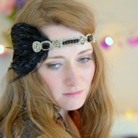 Flapper headband, Great Gatsby headband, Feather Headpiece, Downton Abbey, Beaded Art Deco, headdress vintage