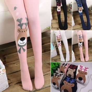 Baby Kids Girl Cotton Warm Socks Tights Stocking Hosiery Reindeer Elk Pantyhose