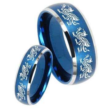 His Her Satin Blue Dome Multiple Dragon Two Tone Tungsten Wedding Rings Set