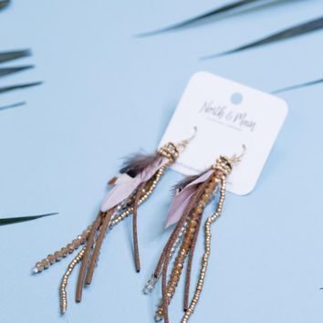 Feather and Tassel Earrings, Brown