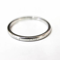 Vintage Platinum Band Art Deco 900 Platinum Wedding Stack Engraved Ring