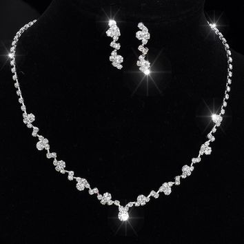 Silver Tone Crystal Tennis Choker Necklace Set