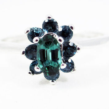 Teal Tourmaline and London Blue Topaz Halo Ring Sterling Silver, Oval Green Tourmaline Ring, Teal Tourmaline Ring, October Birthstone Ring