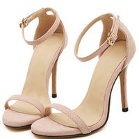 Nude Stiletto High Heel Ankle Strap Sandals