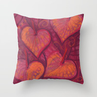 Hearty Flowers, anthurium, funky floral, pink, red & orange Throw Pillow by Clipso-Callipso