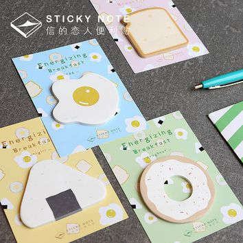 Cute Kawaii Egg Memo Pad Post It Note Creative Toast Sticky Paper For Kids Gift School Supplies Free Shipping 276