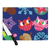 """Jane Smith """"Winter Repeat"""" Blue Navy Cutting Board"""
