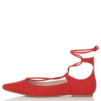 FINEST Ghillie Lace-Up Flats - Red
