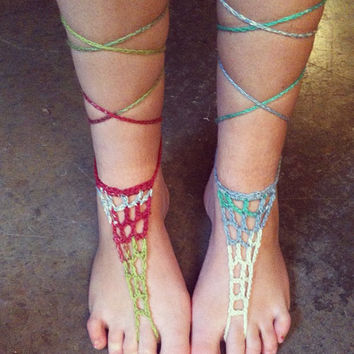 Crochet Barefoot Sandals Hippie Sandals Boho Sandals Festival Wear Boho Accessories Hippie Accessories Festival accessories