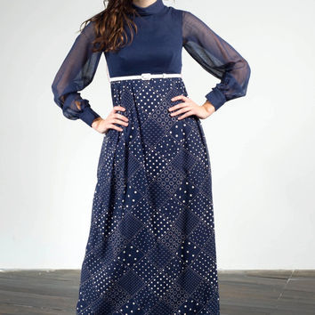1960s Navy blue vintage maxi dress with patterned skirt and sheer long sleeves, small