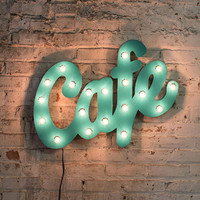 Aqua Metal Cafe Marquee Sign