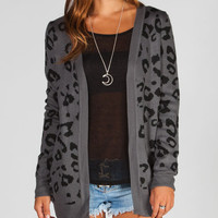 Full Tilt Cheetah Womens Cardigan Grey  In Sizes