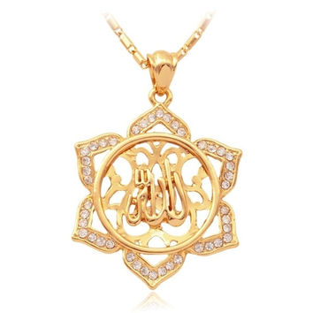 New Trendy 18K Real Gold Plated Rhinestone Slide Vintage Design Allah Necklaces & Pendants Jewelry For Women = 1946606916