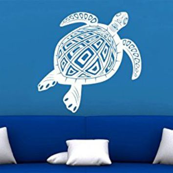 Wall Decal Vinyl Sticker Decals Art Decor Turtle Tortoise Tortoiseshell Mural Pattern Style Water animal Swim Bedroom Dorm Bathroom (r1092)