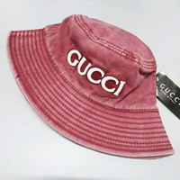 GUCCI Fashion New Embroidery Letter Women Men Sunscreen Leisure Cap Hat Red
