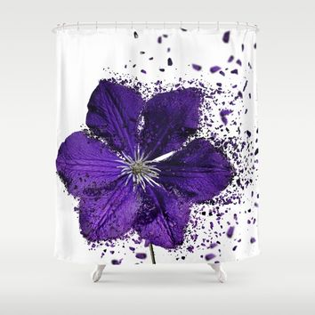 Purple flower Explosion Shower Curtain by Claude Gariepy