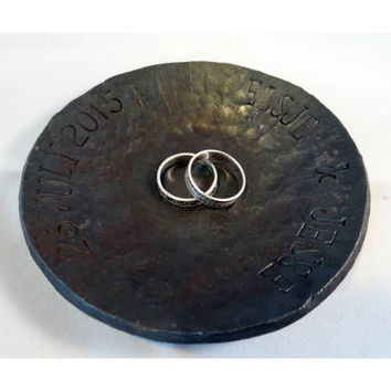 Personalized wedding ring dish - forged steel bowl - ring bearer - wedding gift - ring holder - anniversary valentines day