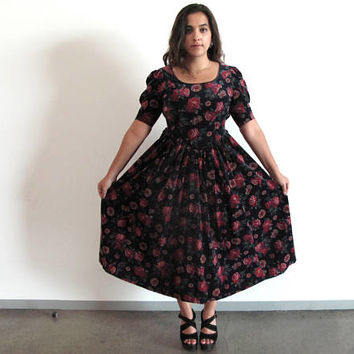floral velvet dress - 80s vintage Laura Ashley rose print puff sleeve fit flare warm holiday party long midi maxi black red green medium