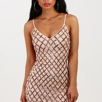 Mixed Signals Nude And Rose Gold Sequin Mini Dress