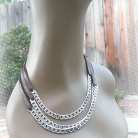 Layered Silver Plated Chain Necklace Deerskin Chain Necklace
